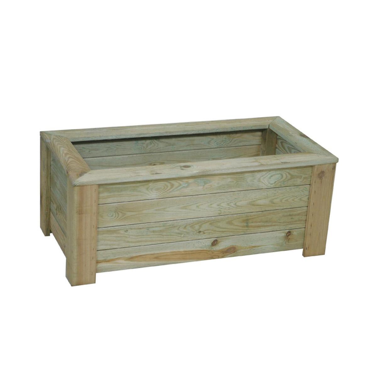 Jardinière rectangulaire en bois avec géotextile Iris 100