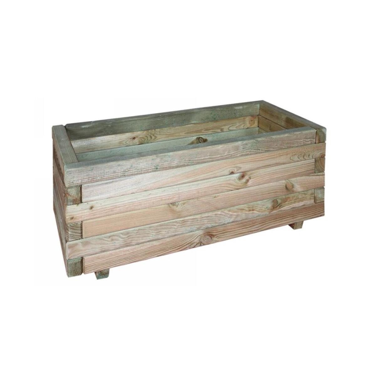 Jardinière rectangulaire en bois avec feutre géotextile Jonquille 80