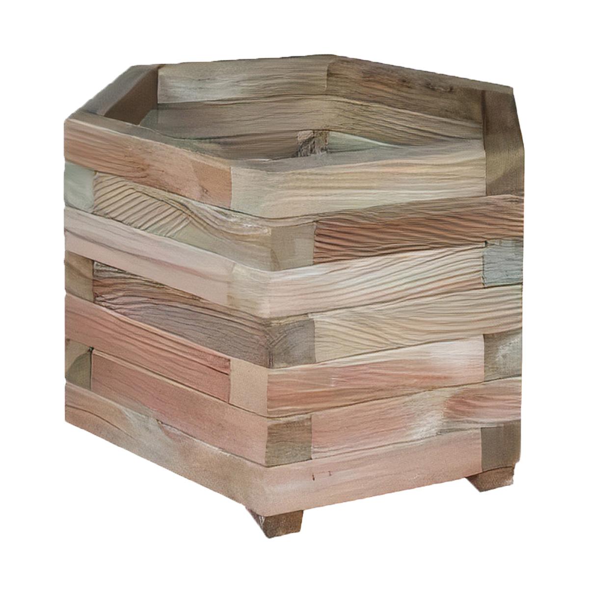 Jardinière hexagonale en bois avec feutre géotextile Jonquille 50