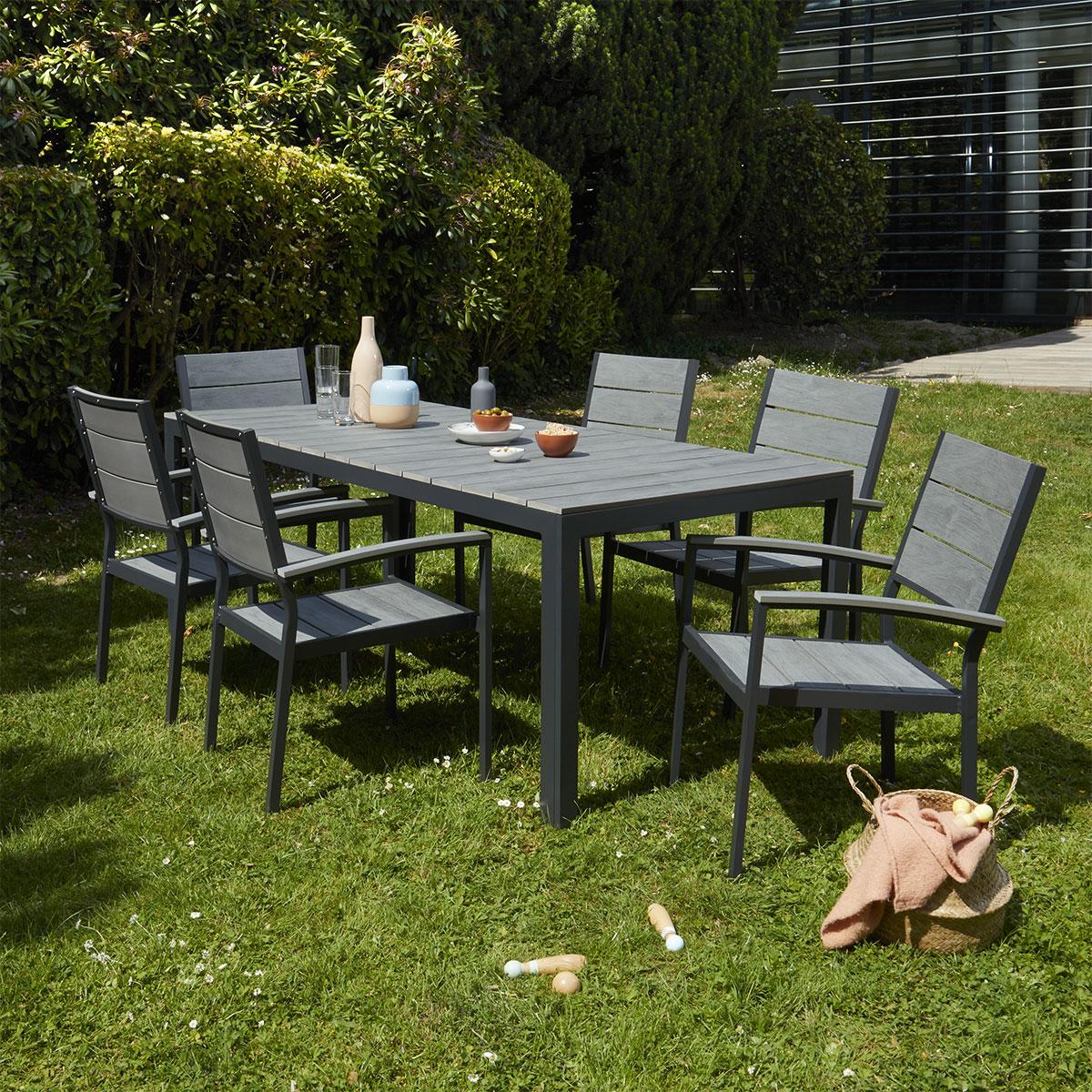 Salon de jardin en aluminium et polywood 6 places