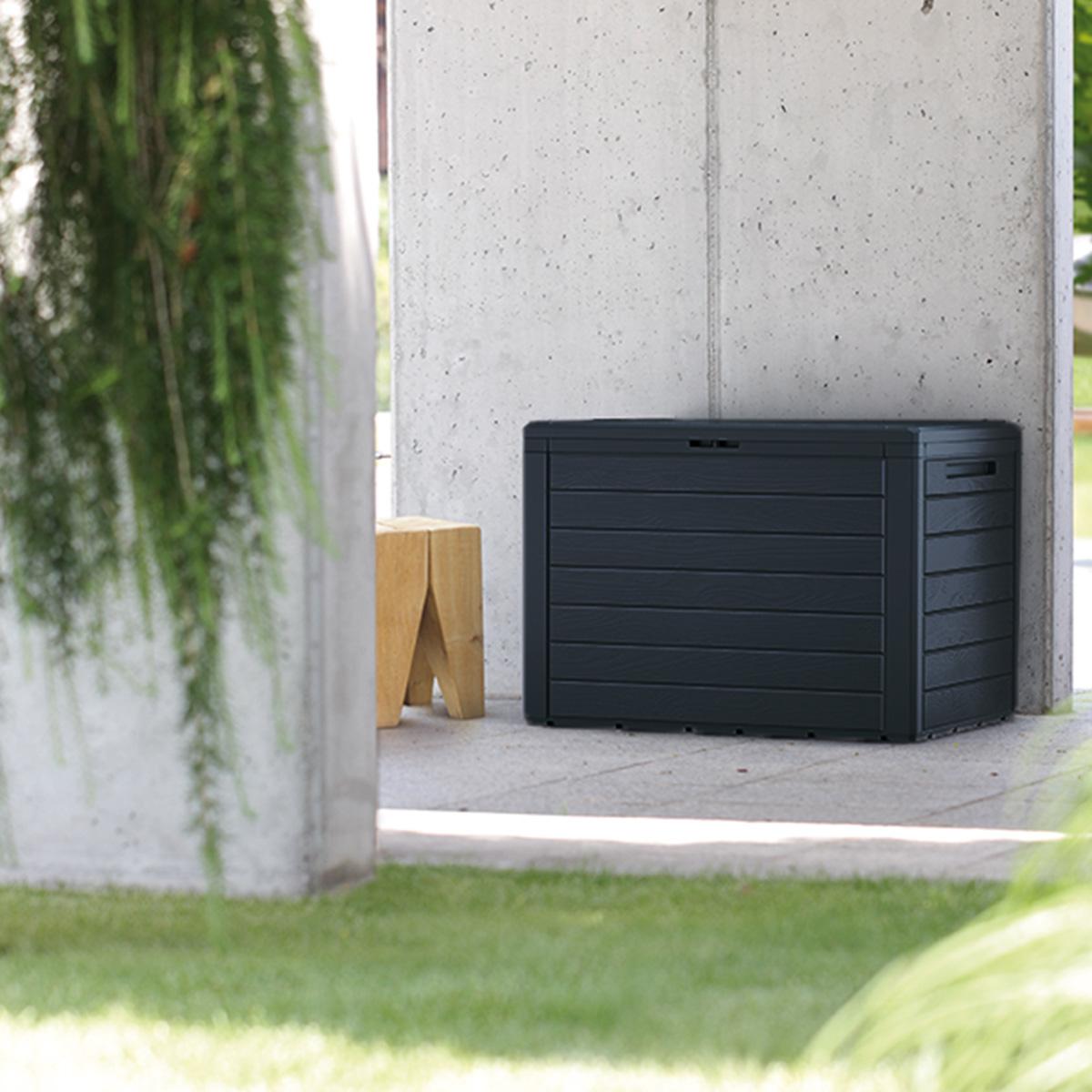 Coffre en plastique effet bois noir 280l