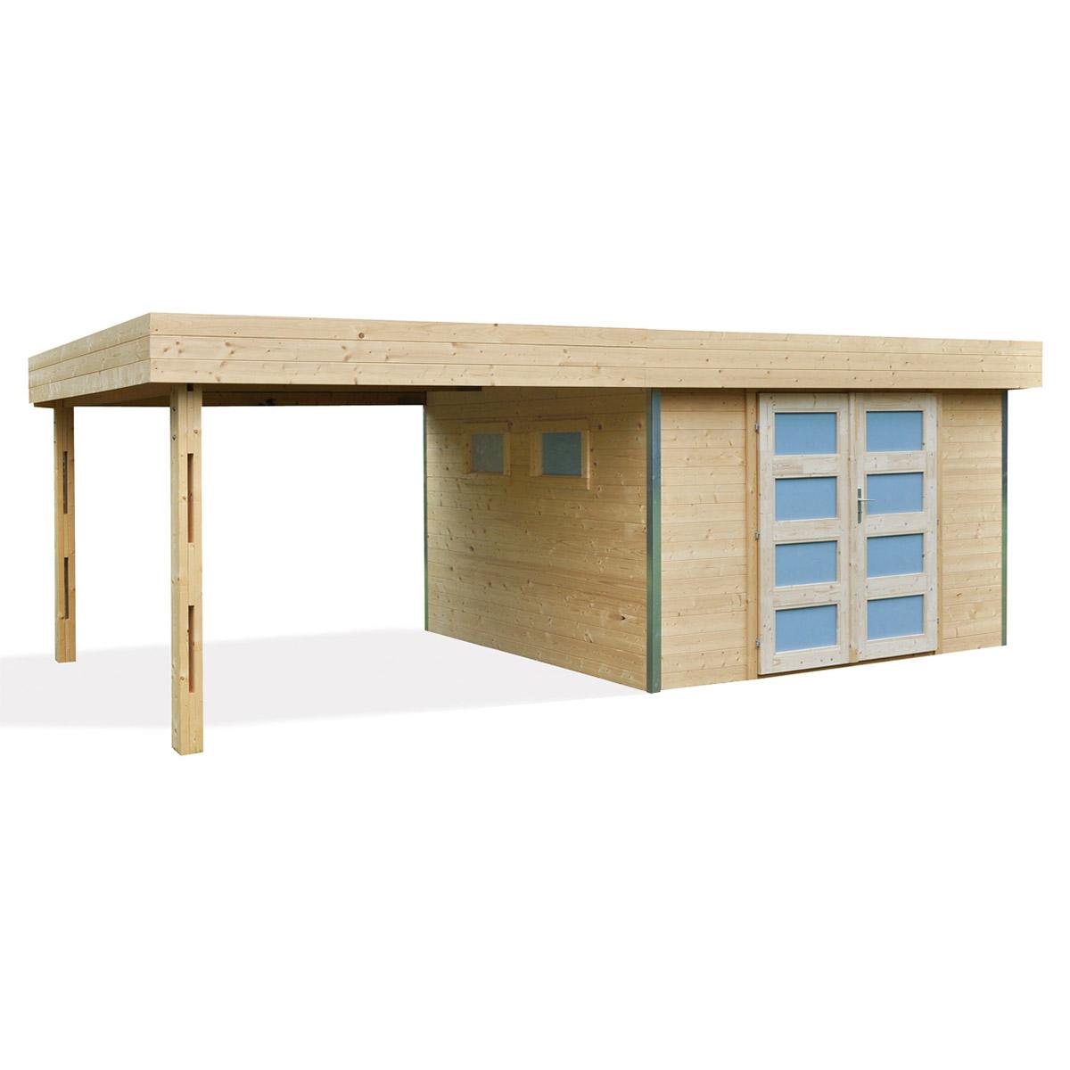 Abri de jardin 9m² avec auvent en bois noémie