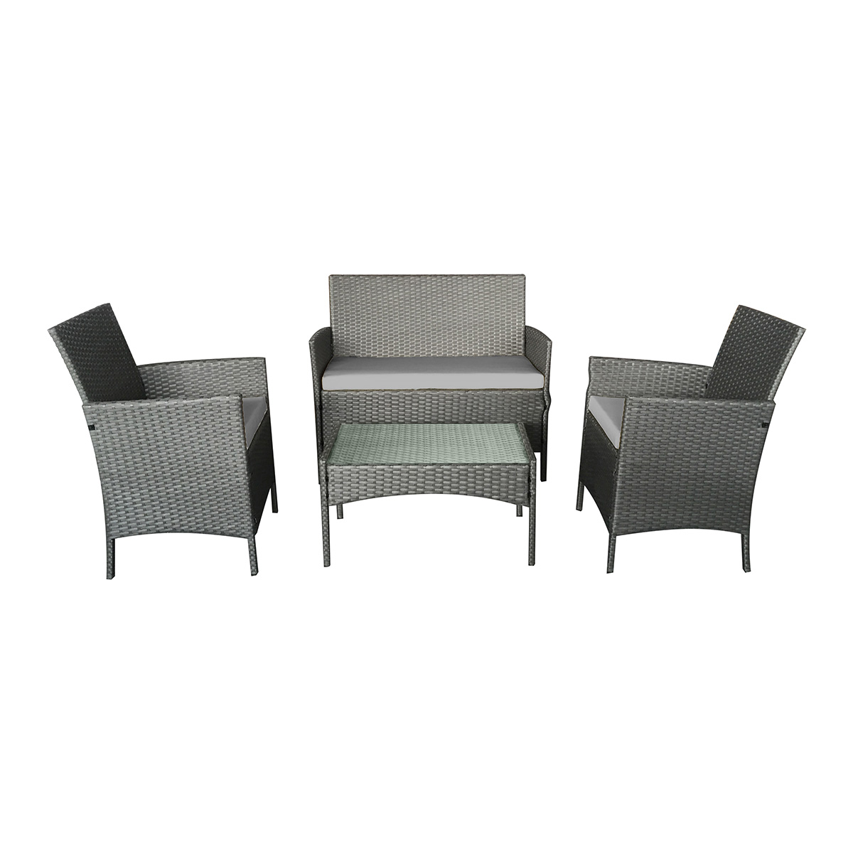 Salon de jardin cuba en résine tressée 4 places avec coussins gris