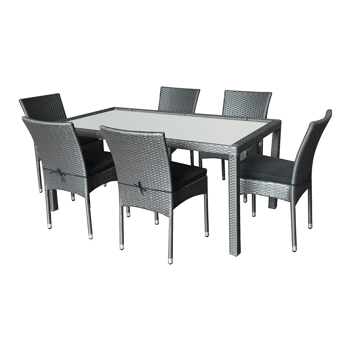 Salon de jardin doha en résine tressée 6 chaises + coussins noir