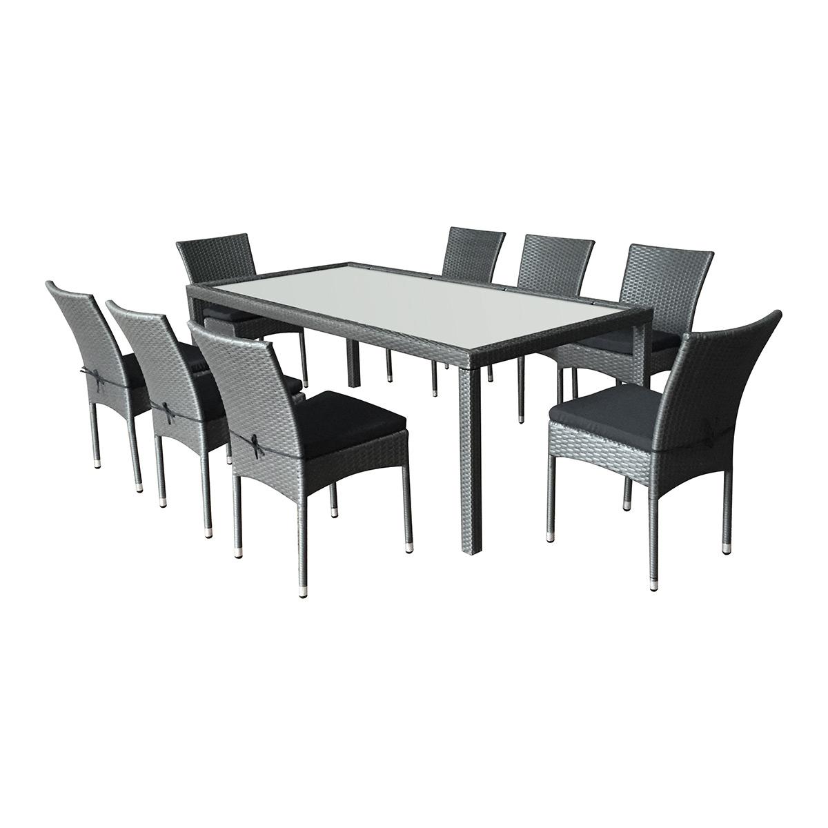 Salon de jardin en résine tressée 8 chaises et 1 table rectangulaire, coussins noirs, Doha