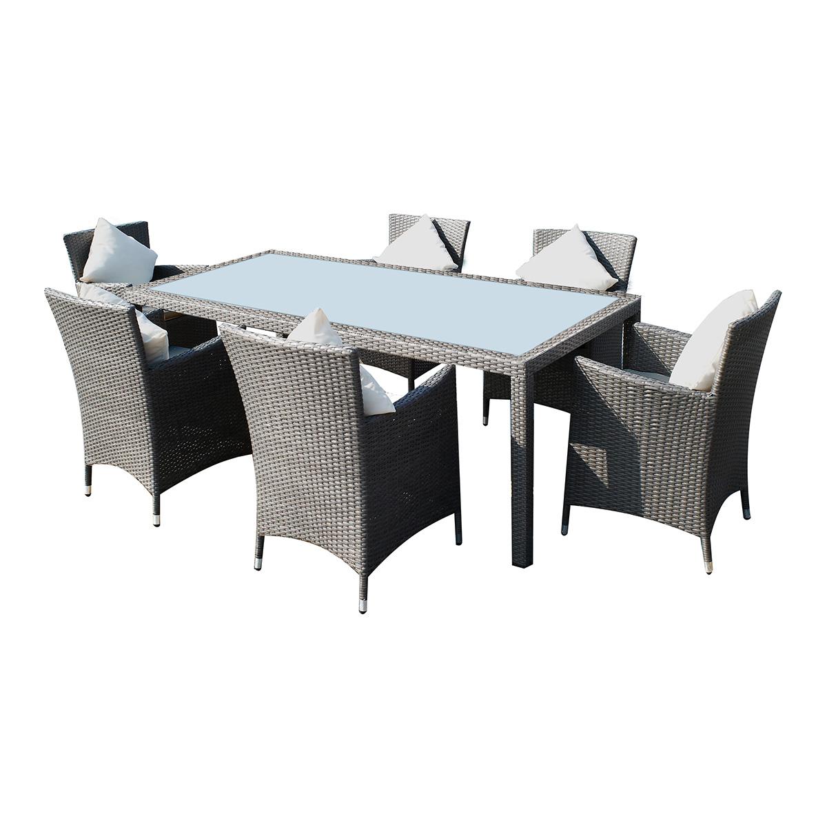 Salon de jardin caracas en résine tressée 6 fauteuils + coussins gris