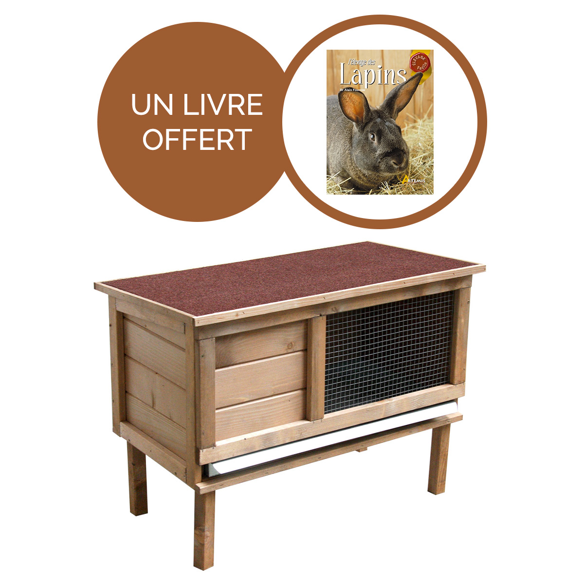Clapier Noisette + livre sur l'élevage des lapins offert