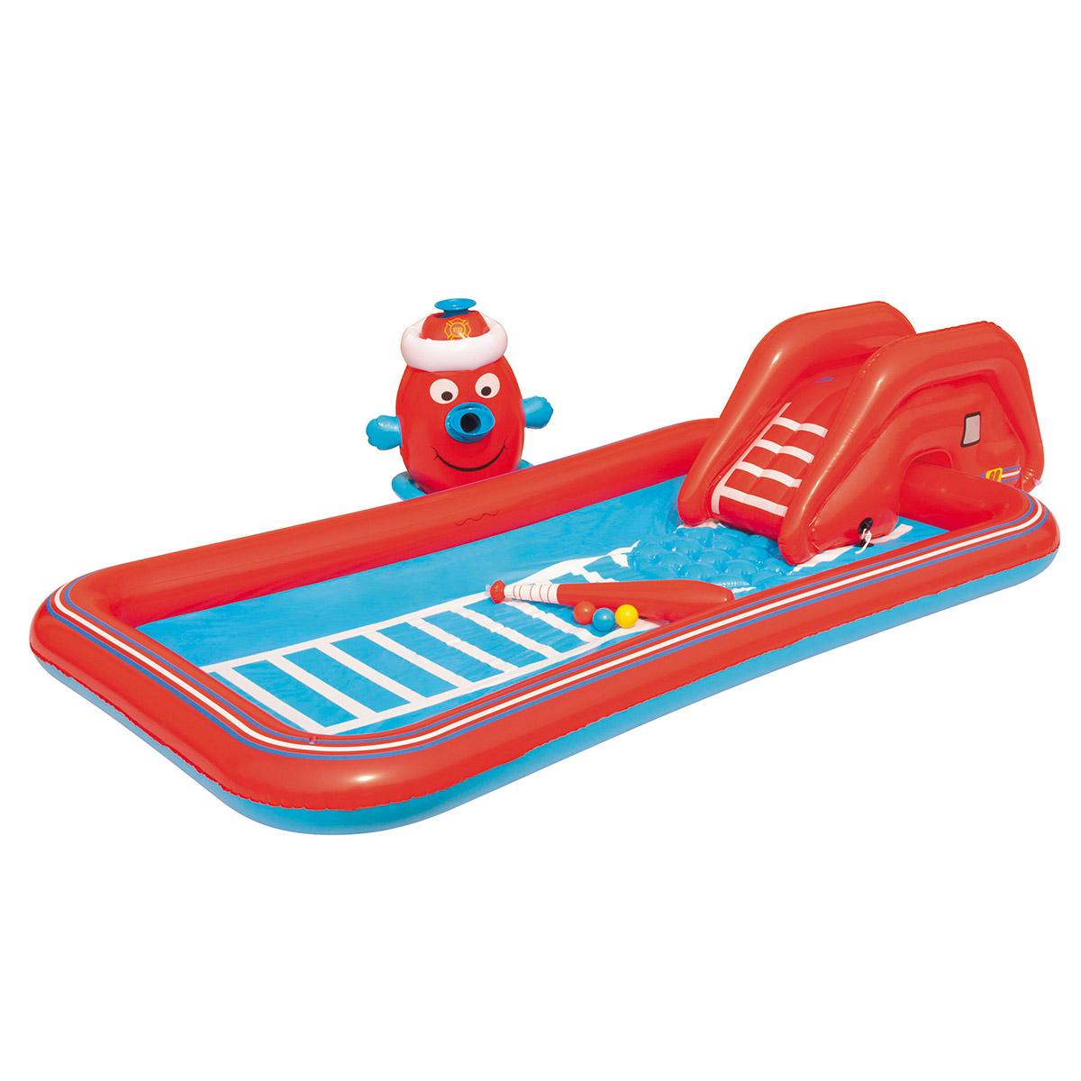 Aire de jeux gonflable voiture de pompier