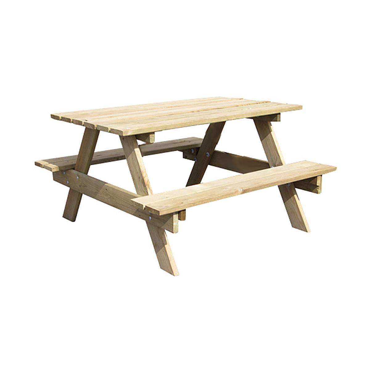 Table de pique nique enfant en bois 90x90xH57 cm Trigano