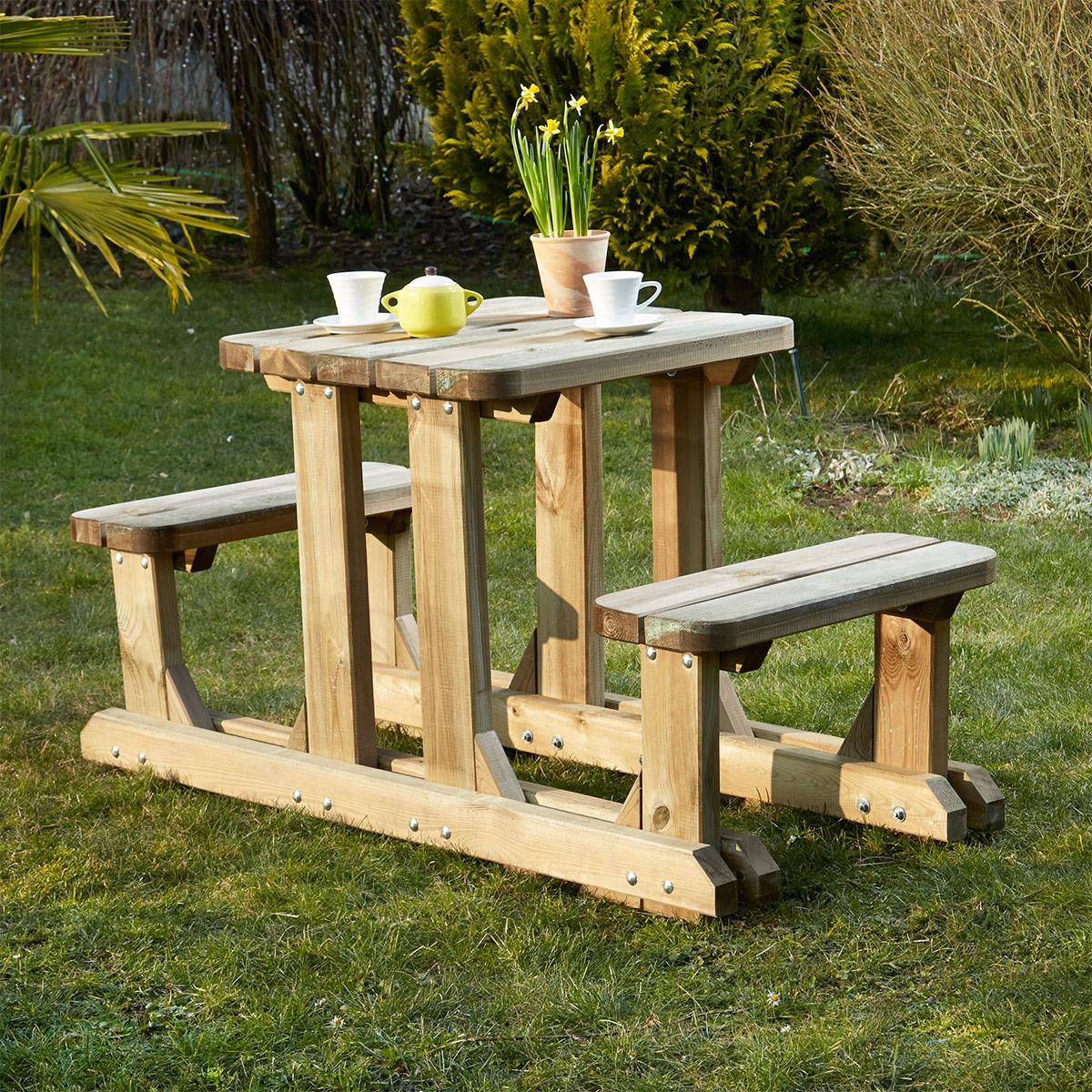 jardin table pique nique bois. Black Bedroom Furniture Sets. Home Design Ideas
