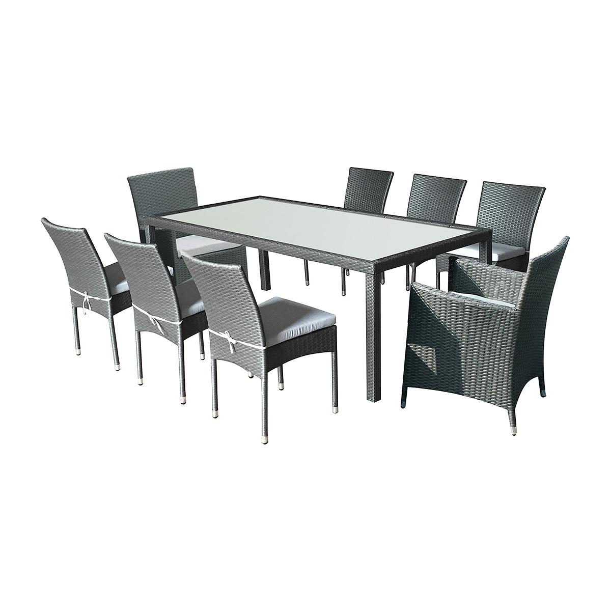 Salon Doha coussins gris : 6 chaises + 2 fauteuils