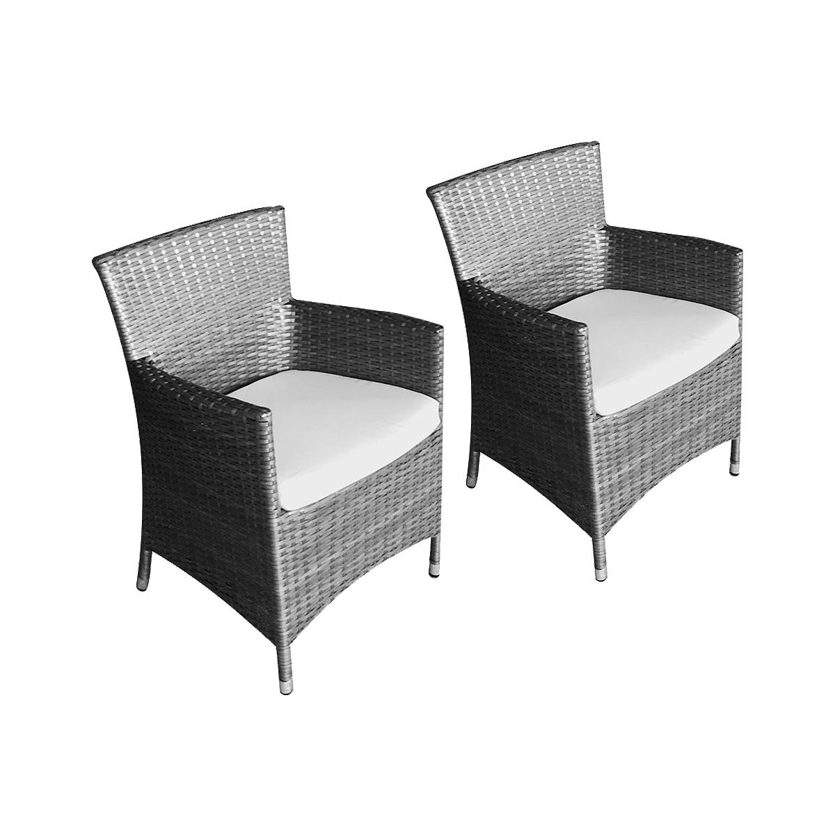 Lot de 2 fauteuils caracas + coussins gris