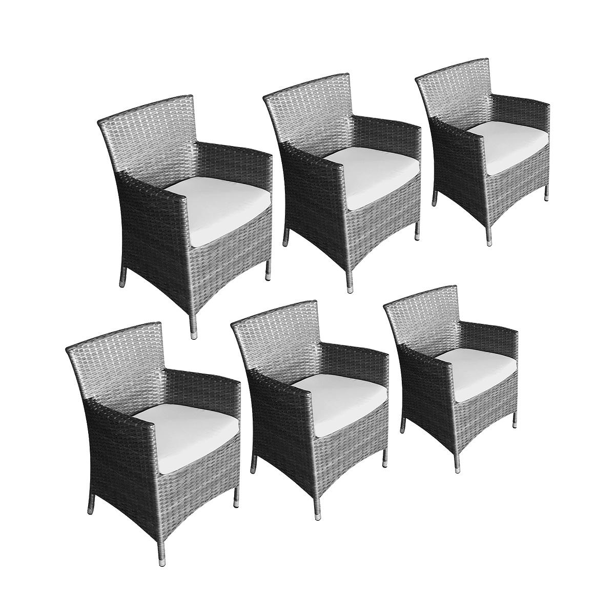 Lot de 6 fauteuils caracas + coussins gris