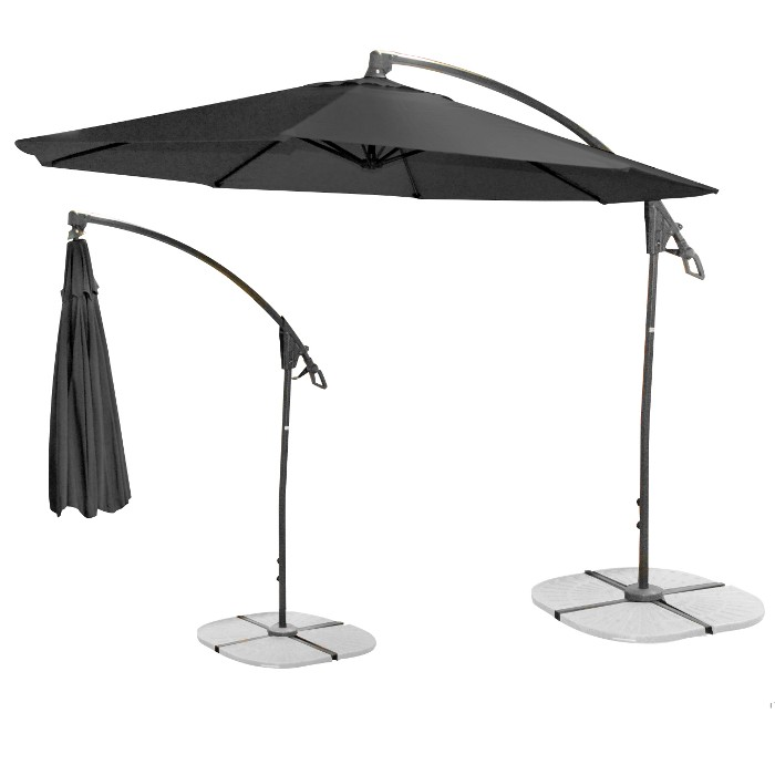 jardin parasol d port noir. Black Bedroom Furniture Sets. Home Design Ideas