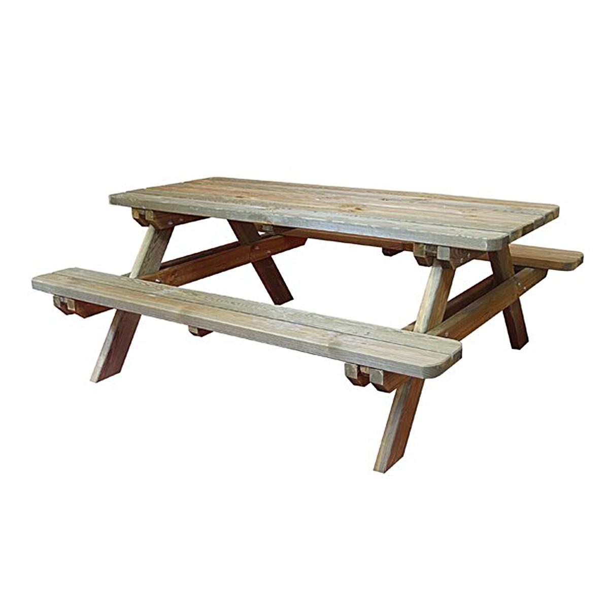Table de pique-nique rectangulaire en bois 4/6 places ram...