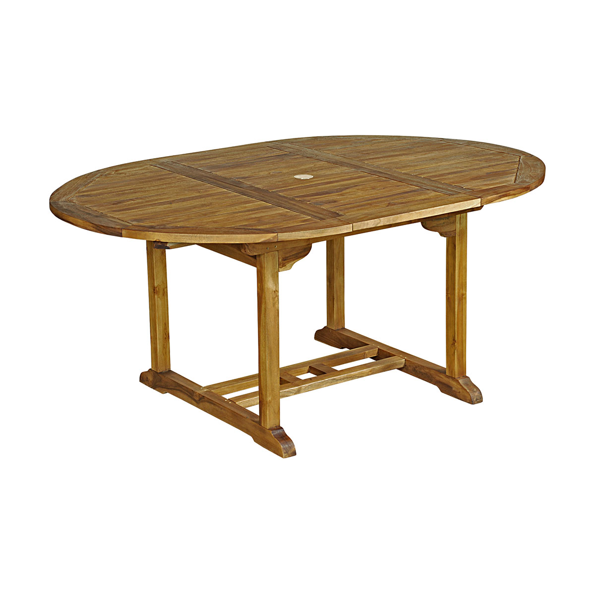 Table ronde Baya 120/170x120x75 cm en Teck Huilé 4/6 places