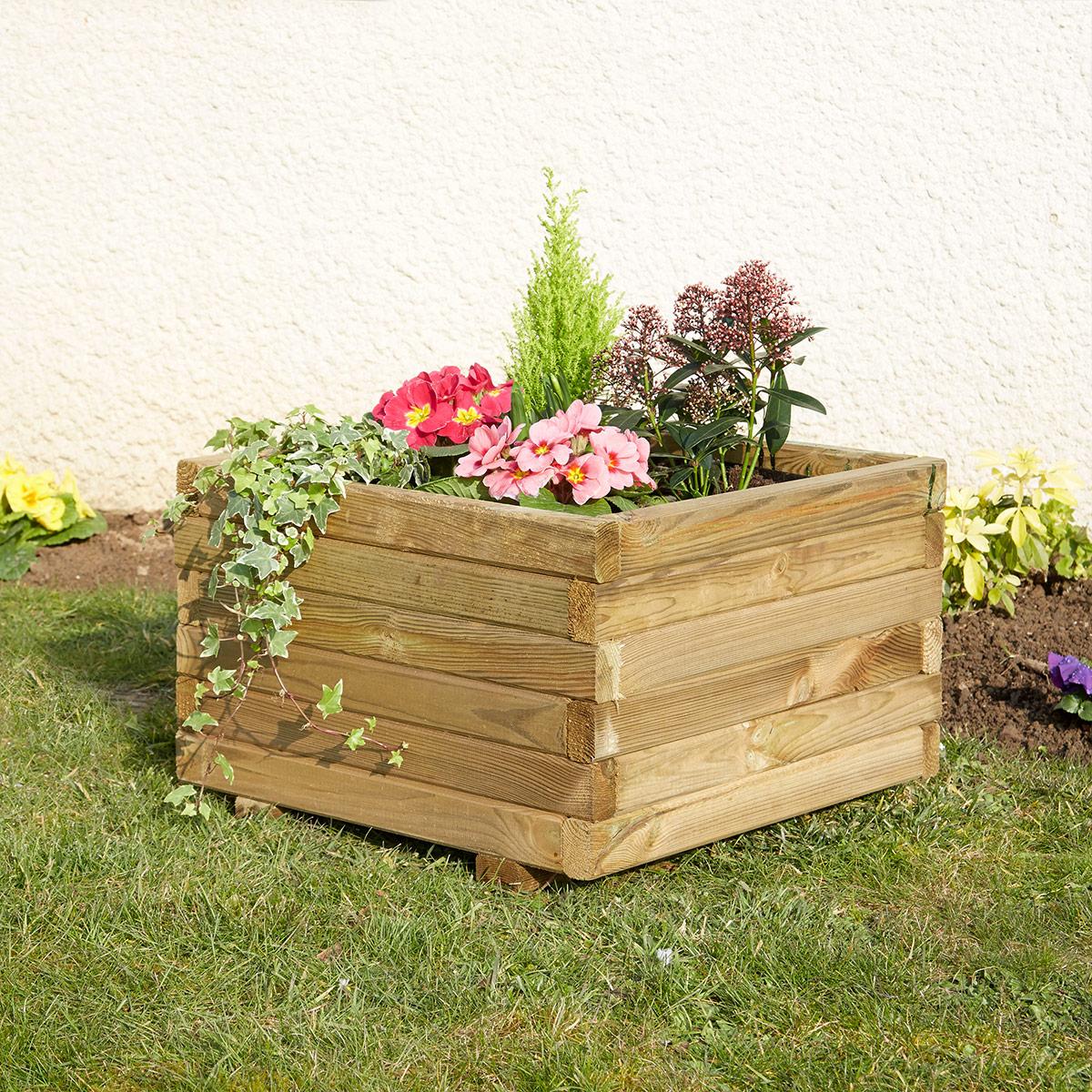 Jardinière carrée 50x50 cm en bois avec feutre géotextile Primo