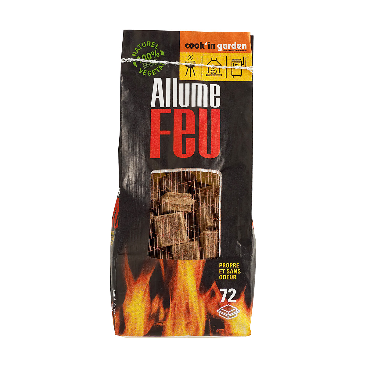 Sac allume feu bois compressé 100% naturel x 72
