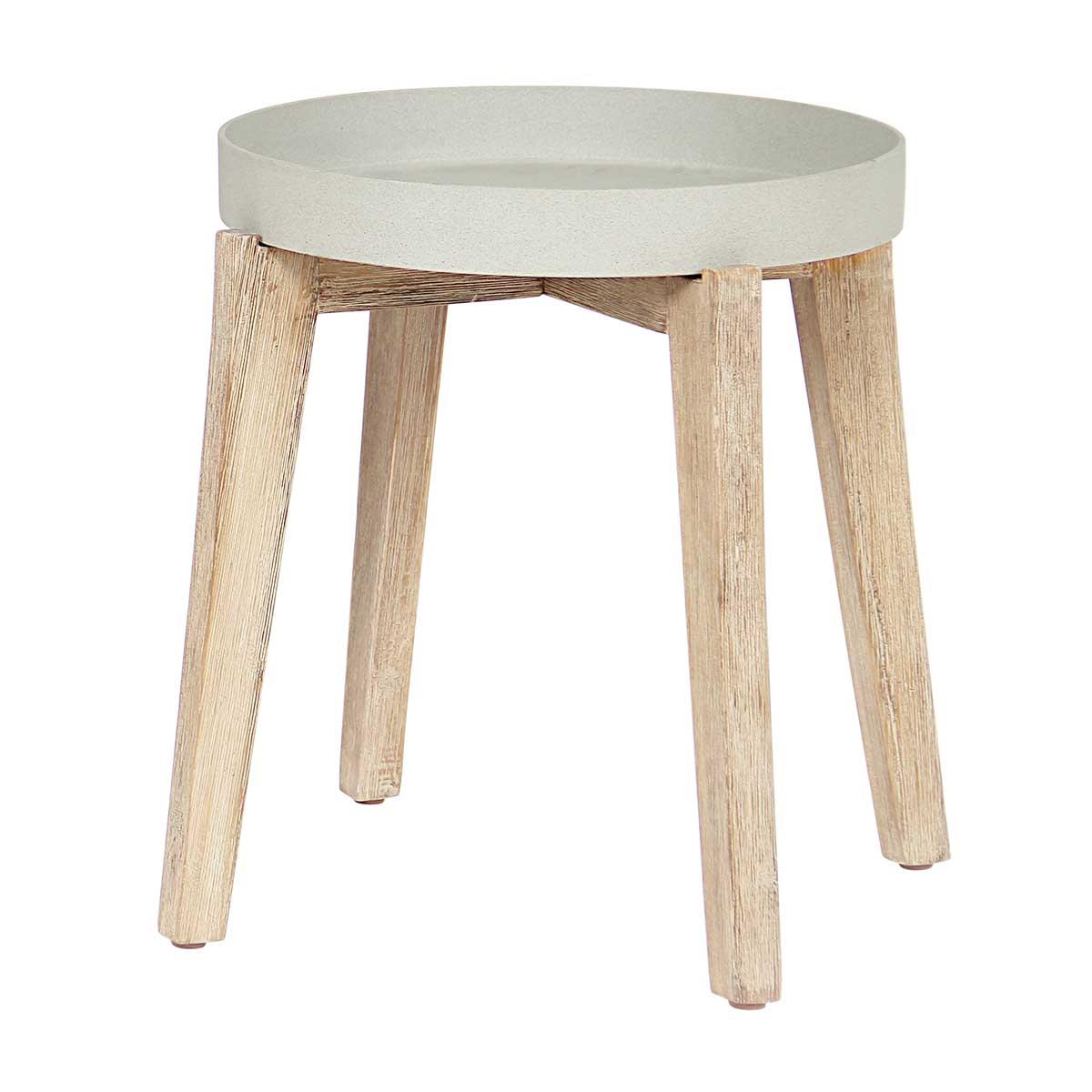 Table basse gypso naturel en bois et grès sandstone