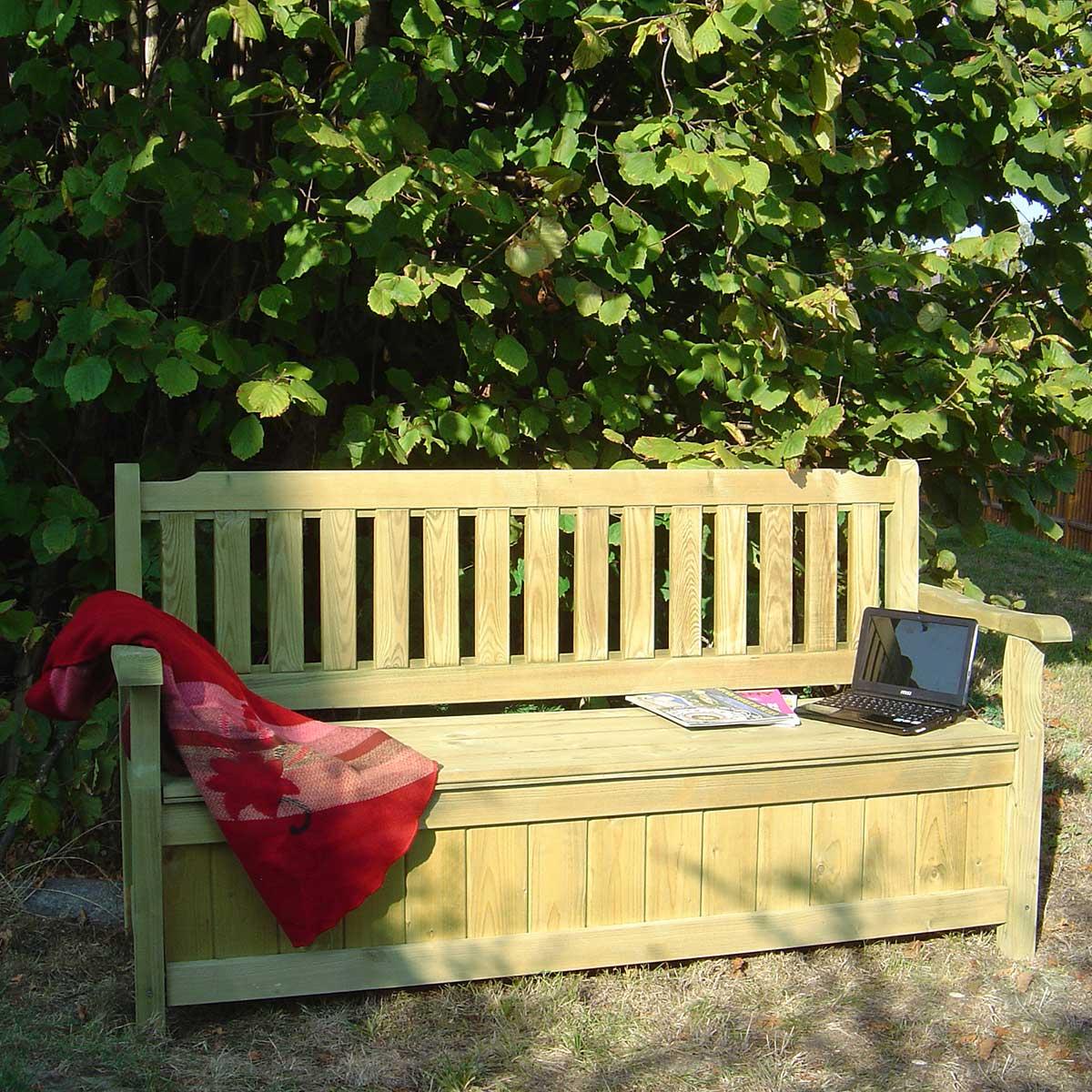 Banc de jardin 4 places avec coffre en bois traité autoclave