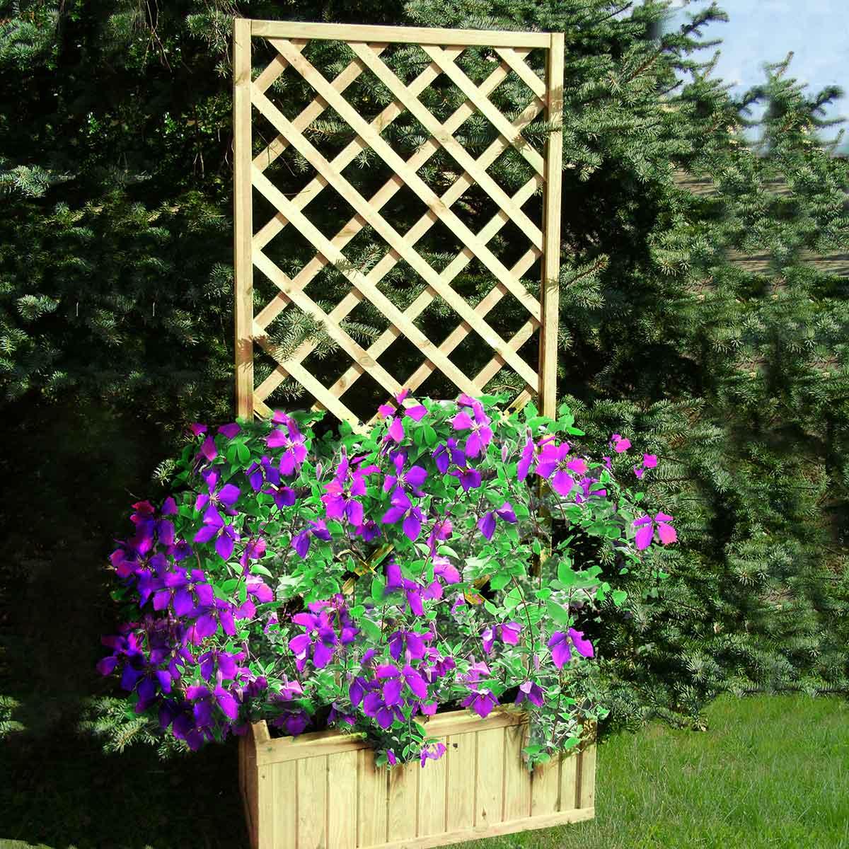 Jardinière En bois avec treillage grand modèle - passiflore