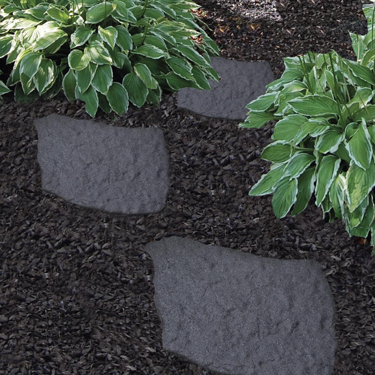 Lot de 4 dalles en caoutchouc recyclé imitation pierre