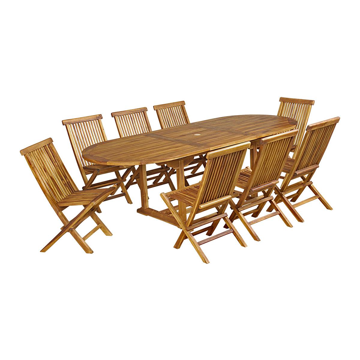 Salon de jardin baya en teck huilé 8 chaises, grand modèle