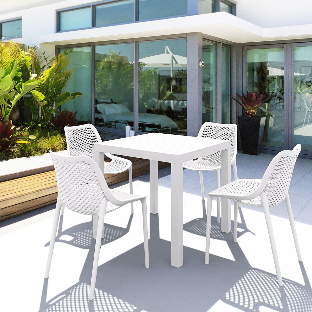 Salon de jardin en polypropylène blanc 4 chaises et 1 table carrée, Air