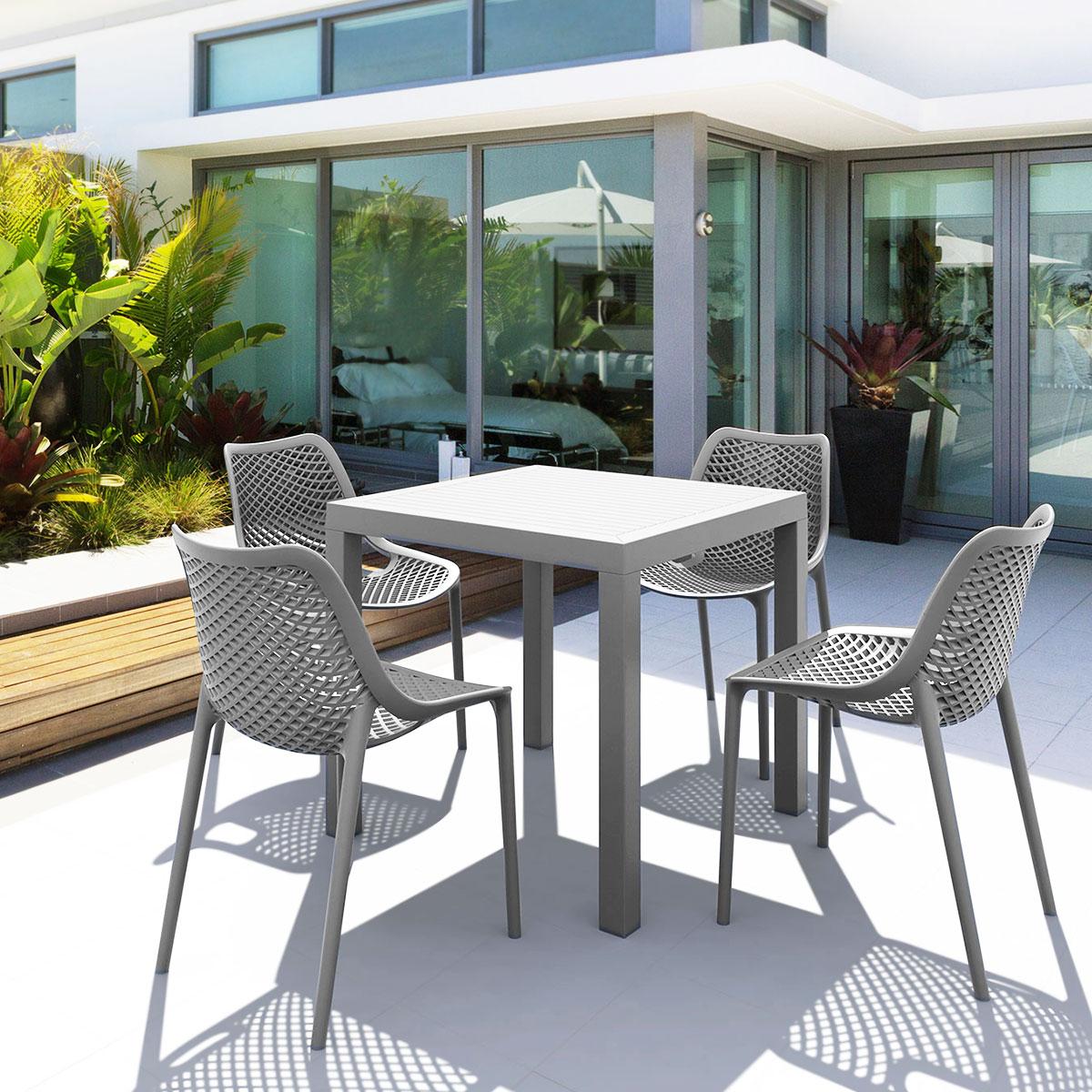 Salon de jardin en polypropylène gris 4 chaises et 1 table carrée, Air