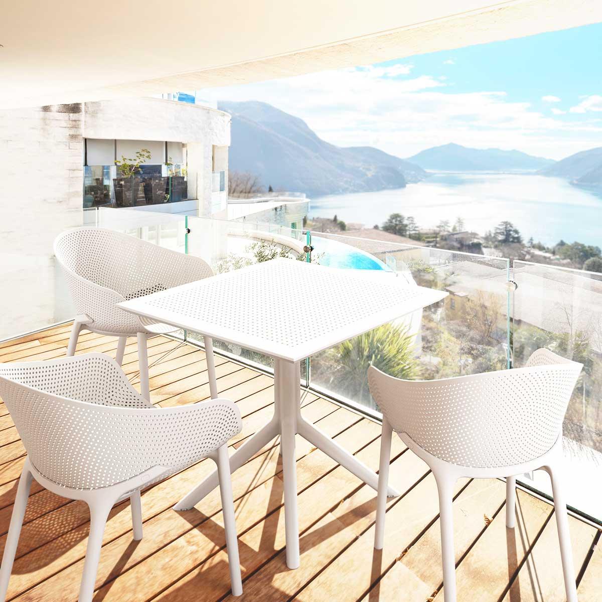 Salon de jardin SKY blanc 4 places en polypropylène - Siesta