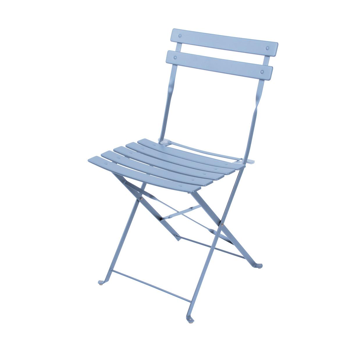 Chaise pliable en acier Mistral bleu tempête