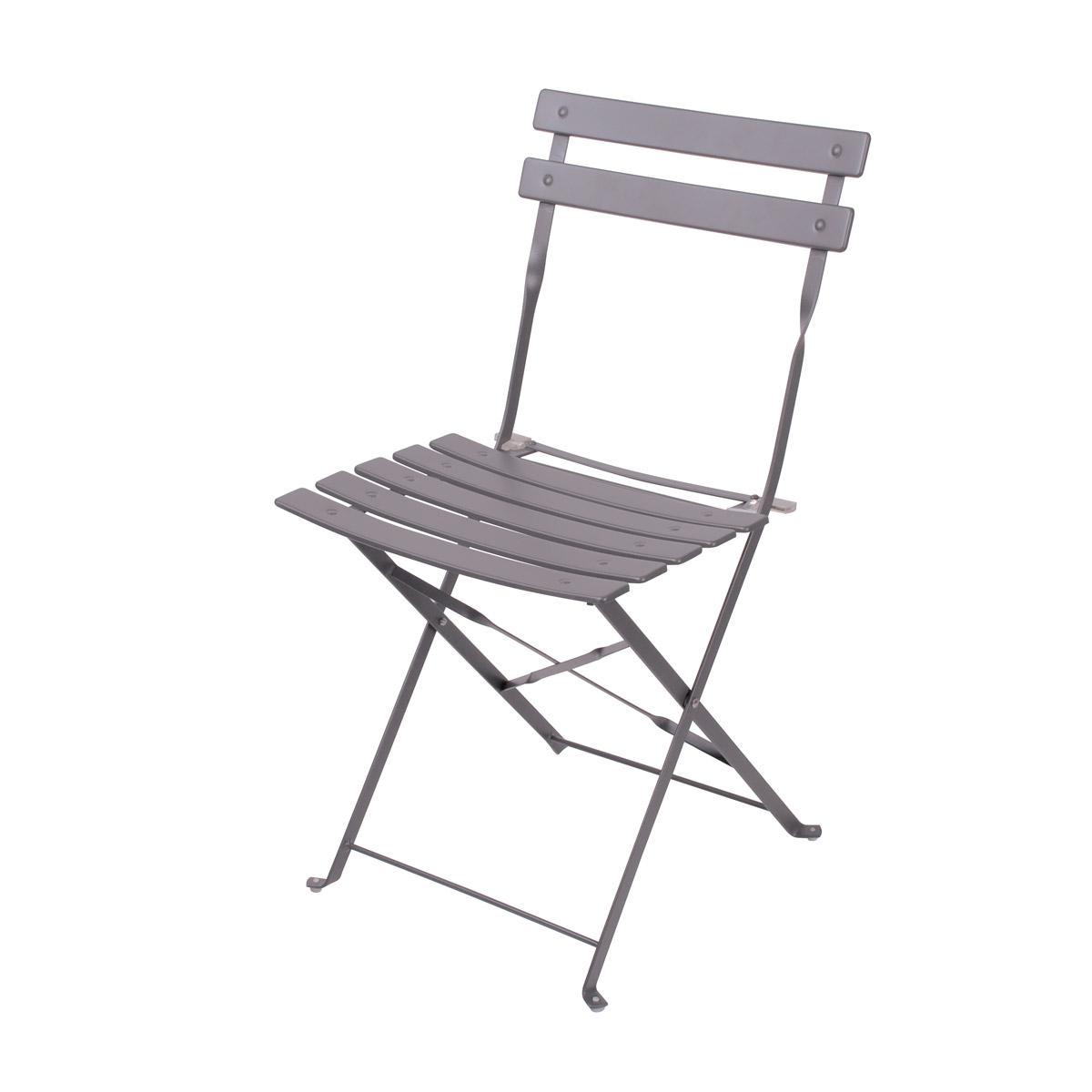 Chaise pliable en acier Mistral taupe