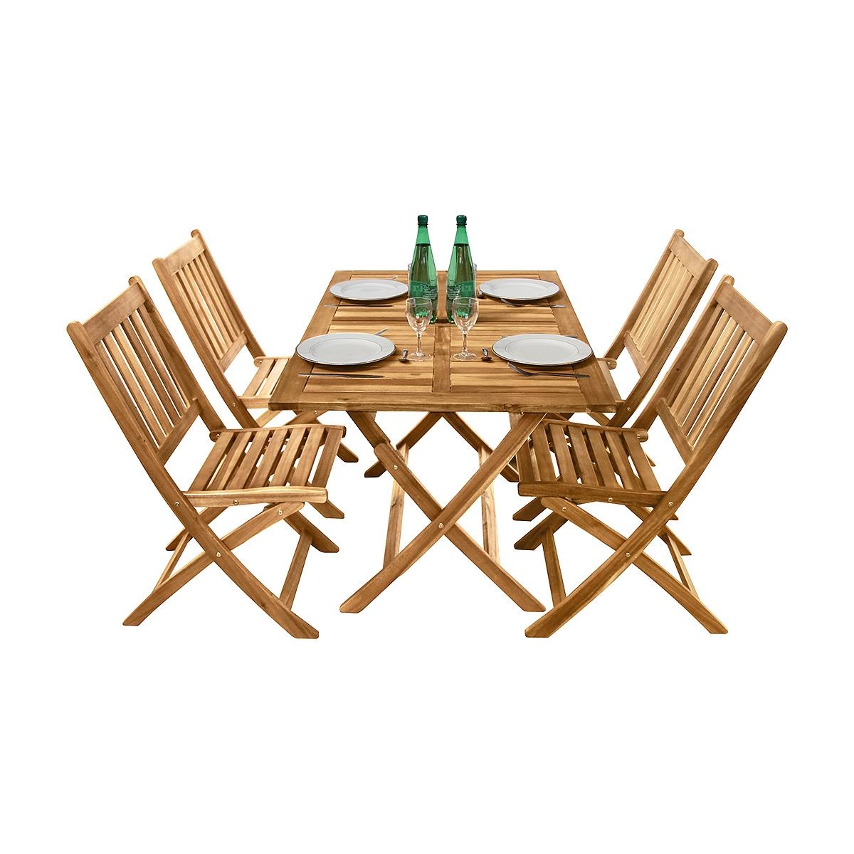 Salon de jardin rectangulaire Fidgi en acacia 4 chaises