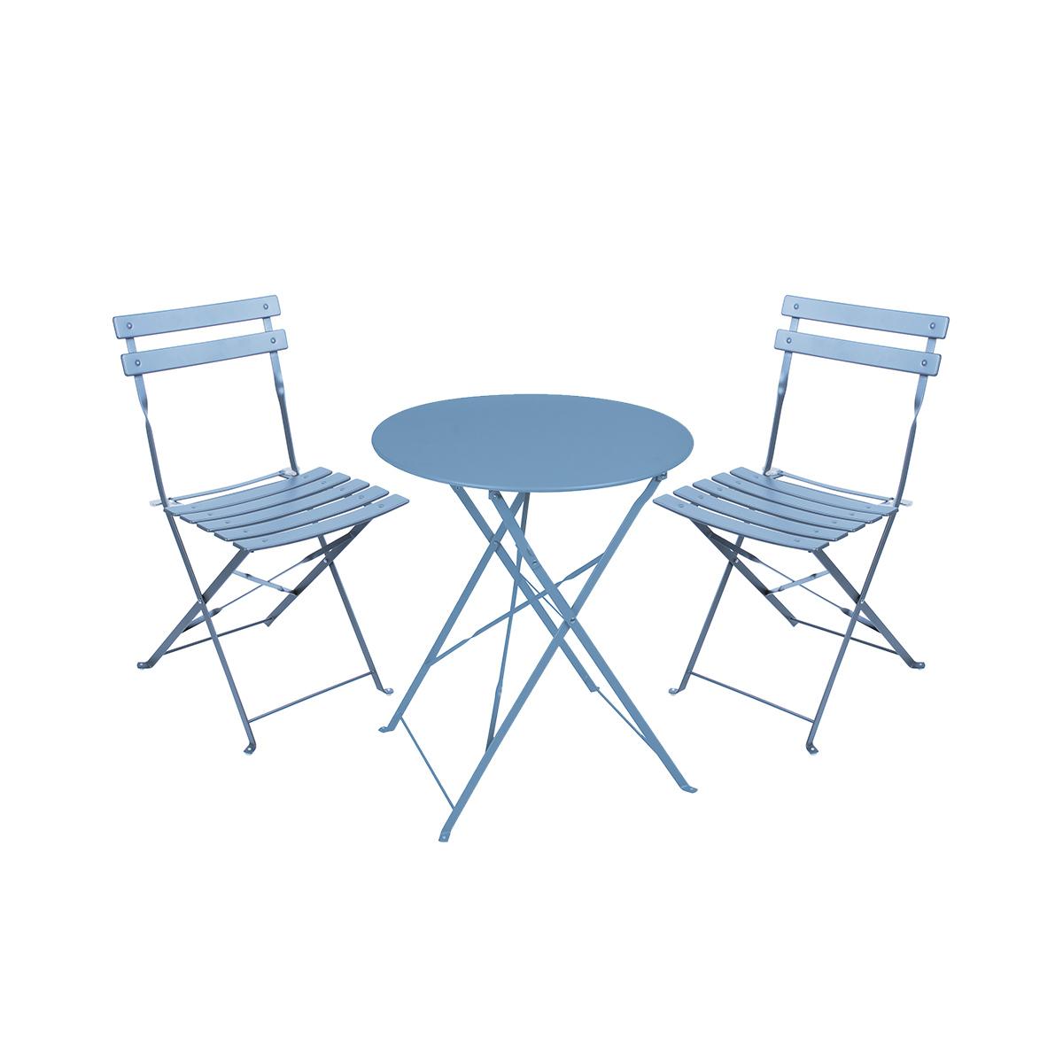 Salon de jardin 2 places en acier pliables mistral bleu t...
