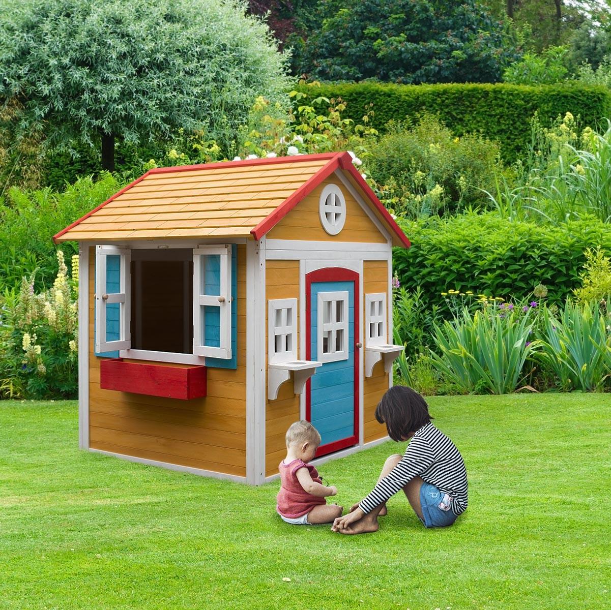 Cabane maisonnette en bois peint