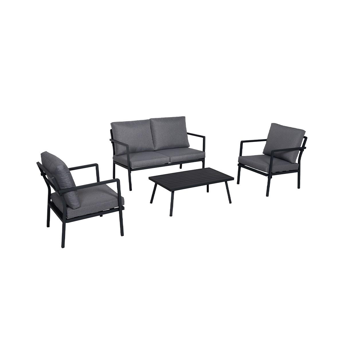 Salon de jardin bas en aluminium 5 places gris foncé - Achat/vente