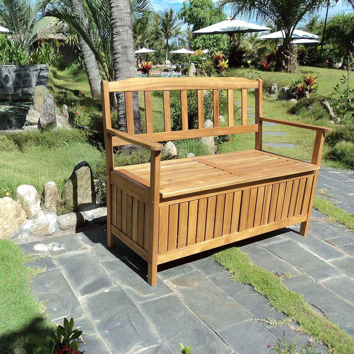 banc de jardin en acacia avec coffre de