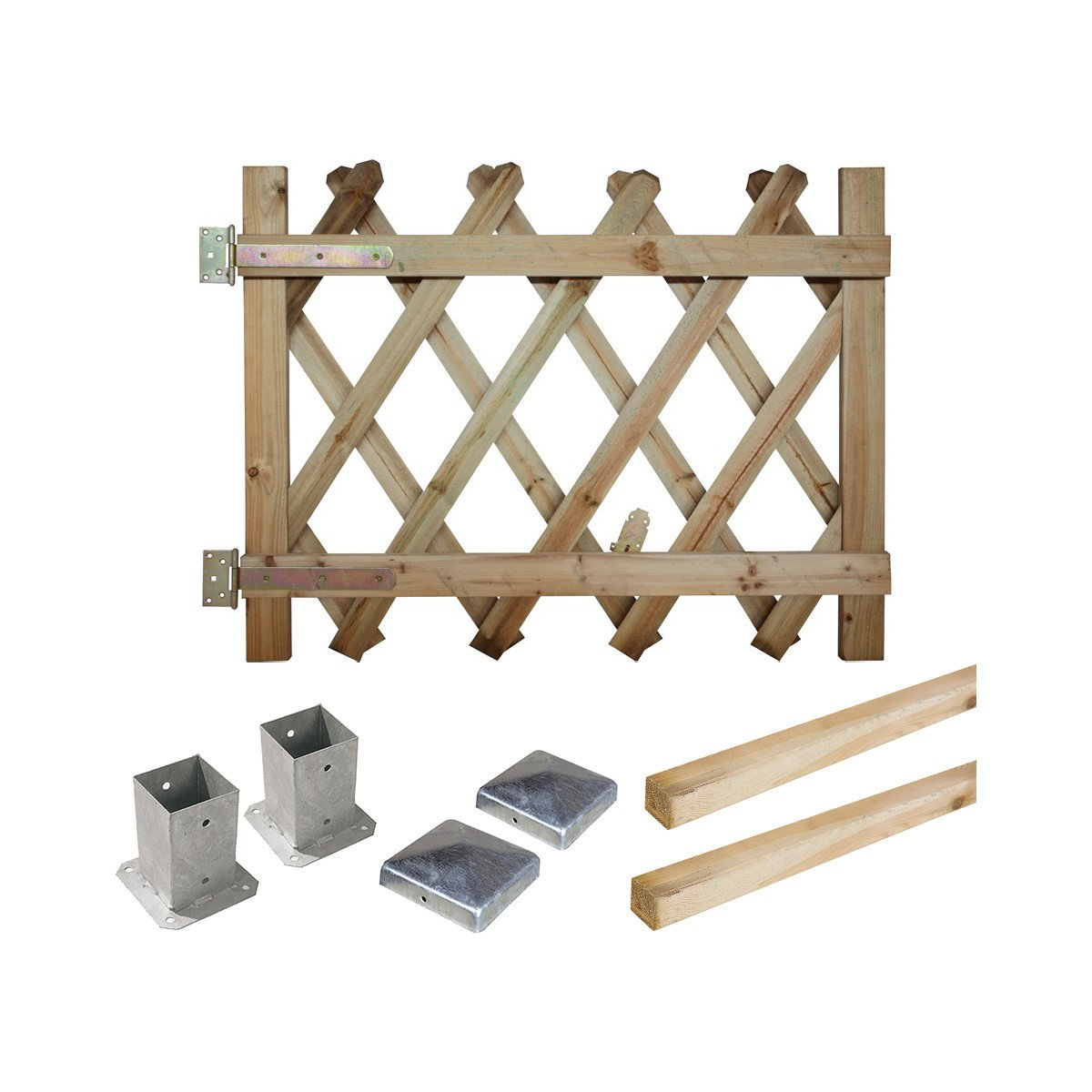 Kit portillon en bois Prunus H 100 cm à fixer