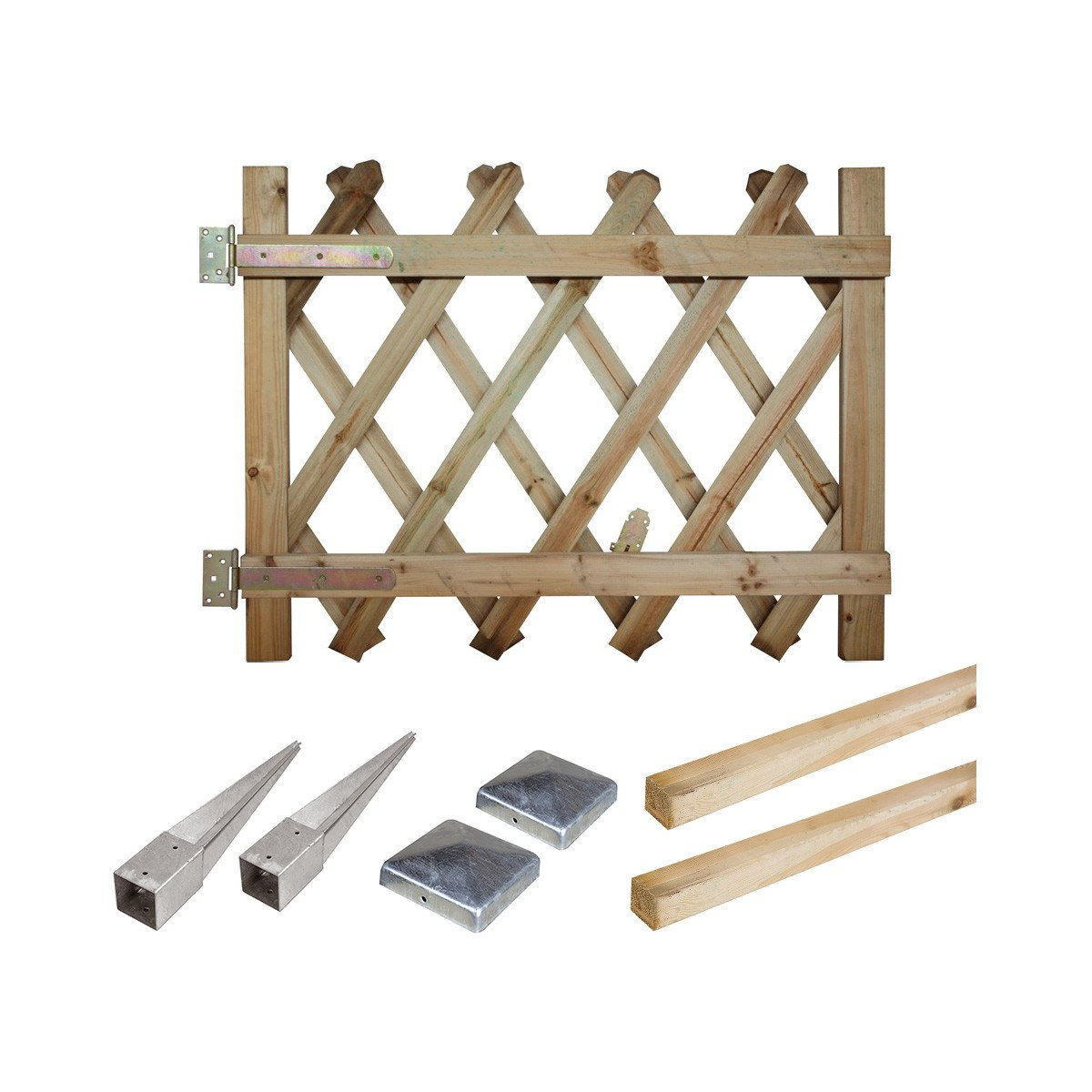 Kit portillon en bois Prunus H 100 cm à enfoncer
