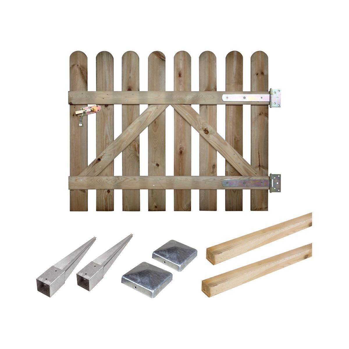 Kit portillon en bois Coquelicot H 100 cm à enfoncer