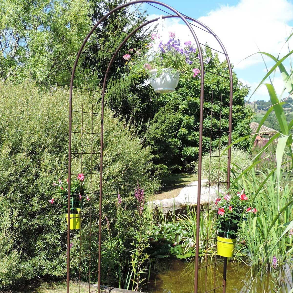 Arche de jardin treillage en fer petit modèle + 4 supports à enfoncer - Louis Moulin
