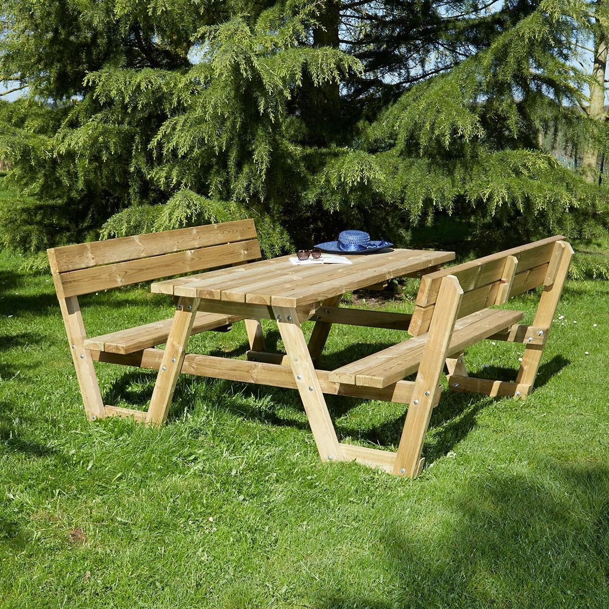 Table pique nique en bois Versailles avec dossiers 6 places