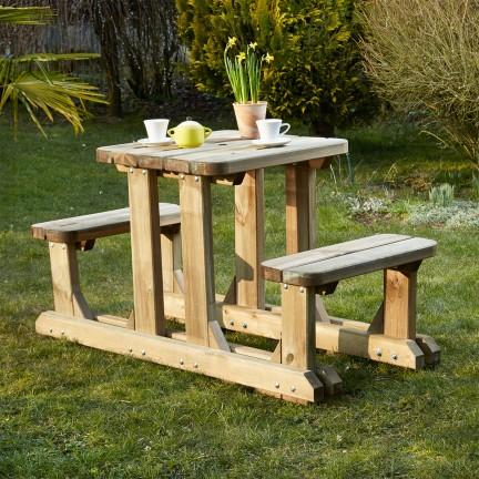 Table pique-nique en bois 2 places