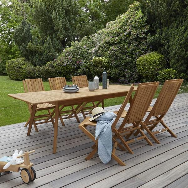 Salon de jardin Bali en teck grade C - 6 chaises
