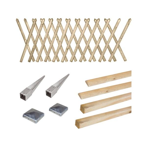 Kit clôture en bois Prunus H 80 à enfoncer