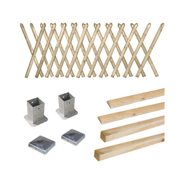 Kit clôture en bois Prunus H 100 à fixer