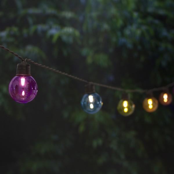 Guirlande lumineuse solaire 20 ampoules rondes couleur