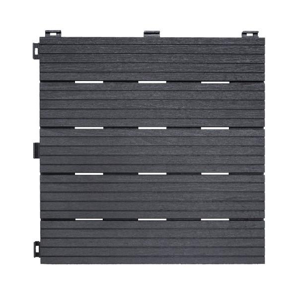 Lot de 6 dalles grises aspect bois - 30 x 30 cm
