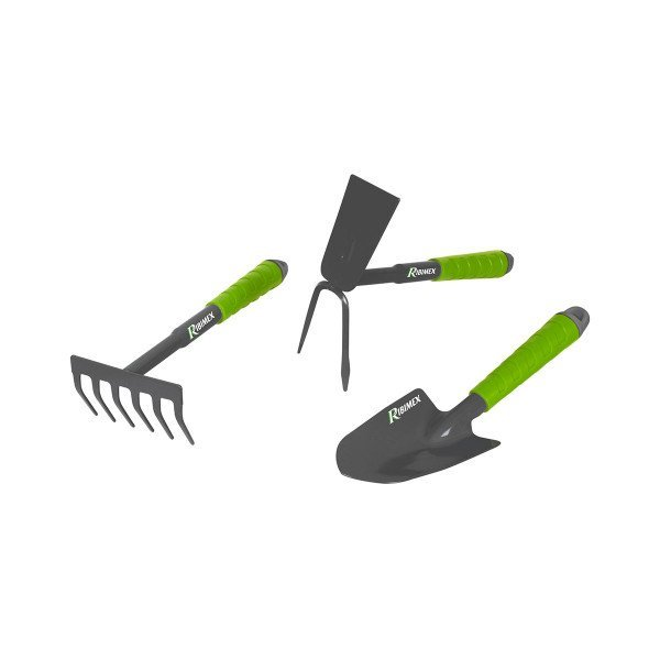 Lot de 3 outils de jardinage en acier : râteau, serfouette, transplanteur