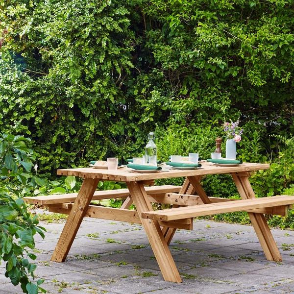 Table de pique-nique en bois 6 places